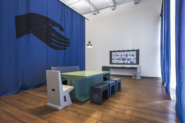 Christian Nyampeta, Hosting Structures, 2015, installatation at Prix de Rome exhibition at de Appel arts centre Amsterdam. Foto: Daniel Nicolas